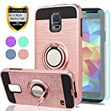 YmhxcY S5 Case,Galaxy S5 Phone Case with HD Screen Protector, 360 Degree Rotating Ring & Bracket Dual Layer Shock Bumper Cover for Samsung Galaxy S5 (I9600)-ZH Rose Gold