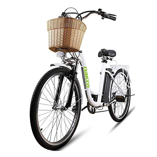 """NAKTO 26"""" Ebike for Female 250W City-Electric Bike Sporting 6-Speed Gear Electric Bicycle 36V10A Removable Battery-White"""