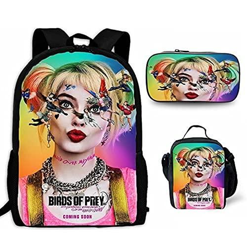 3 unidades Harley Quinn mochila con bolsa de almuerzo, estuche para lápices, escuadrón suicidio escolar, bolsa para estudiantes, para niños, niñas, adolescentes, juegos de fans regalos, 10, XL