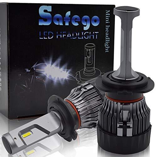 Safego Ampoule H7 LED, 60W 5000LM Phares pour Voiture et Moto, Ampoules Auto de Rechange pour Lampes Halogènes et Kit Xenon, DC 12V 6000K-6500K, 2 Ampoules
