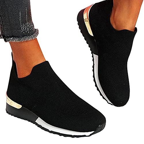 Comfy - Elegant Orthopedic & Extremely Soft Shoes Women Slip On Trainers Sneakers Pumps Ladies Breathable Comfy Loafers (Black,9)