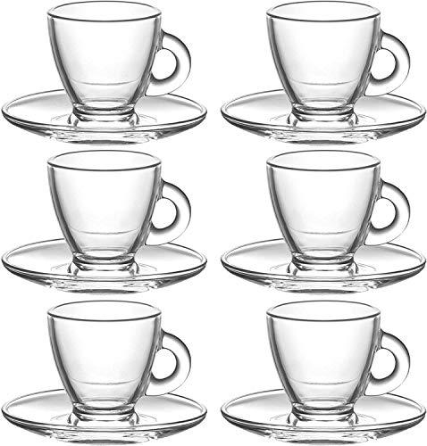 Kasahome Set 6 Tazzine Piattino in Vetro Trasparente per caffè Coffe Caffe Colazione 95cc