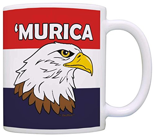 N\A Merican Gifts Murica Bald Eagle 4 de Julio Regalo de Orgullo de Estados Unidos Taza de café Taza de té Patriótico