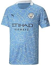 PUMA Camiseta Oficial Temporada 20/21 Home Manchester City FC Replica Niños con Sponsor Logo Camiseta Unisex niños
