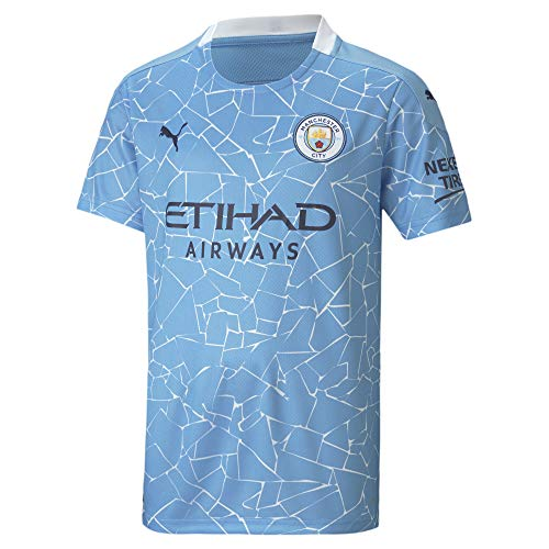 PUMA Uni Kinder Trikot 20/21 Home Manchester City FC Replica with Sponsor Logo T-Shirt, Team Light Blue-Peacoat, 116