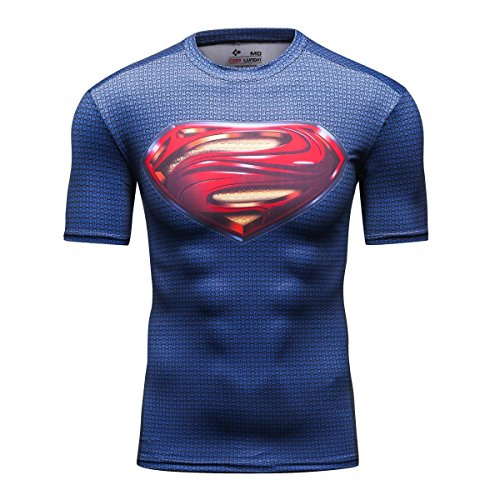 Red Plume Men's Film Super-Hero Series Compression Sports Shirt Skin Running Short Sleeve Tee (L, Super A)