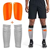 Adult Youth Kids Soccer Shin Guards with Compression Calf Sleeves - 1 Pair