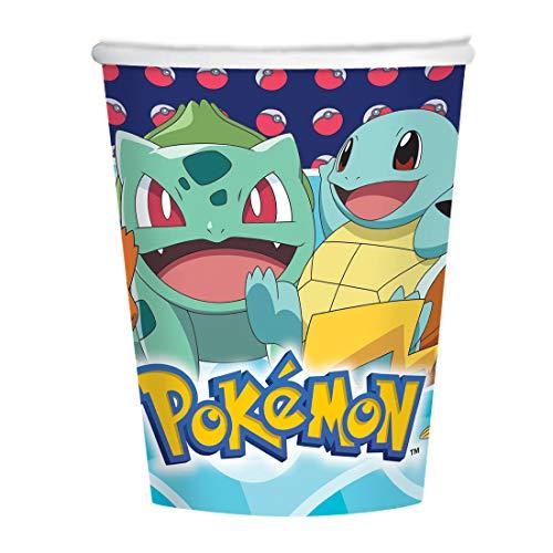 Amakando 8 Vasos de cartón Anime Pokémon / 250ml / Vasos Desechables Monstruo de Bolsillo Fiestas Infantiles y Fiestas de cumpleaños