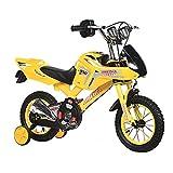 12/16 Pulgadas Bici Infantiles,Bicicleta NiñOs Motocicleta/con Ruedas Auxiliares/con Sirena para Moto/con Salpicadero para Moto/Apta para NiñOs De 2 A 8 AñOs