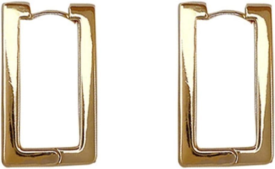 LILINGJIA Earrhea Copper Plated 18K Genuine Rectangular Earrings Fashion Simple Ear nakes Geometric Square Ear Buckle