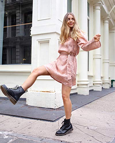 The Drop Women's Croc Print Mock Neck Long Sleeve Belted Loose Mini Dress by @viktoria.dahlberg