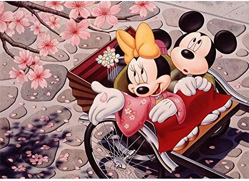 qfafz 5D DIY Diamante Conjunto De Pintura Linda Pareja Mickey Mouse Punto De Cruz Rhinestone Decoraciones De La Habitación De Los Niños 40X50 Cm