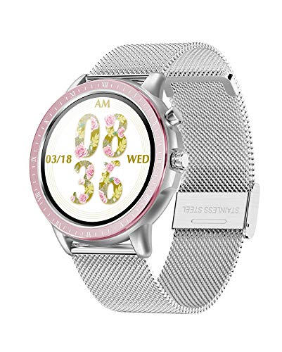 DCU TECNOLOGIC | Smartwatch | Reloj Inteligente | Pulsera de Actividad IP67 | Pantalla táctil Full Color Dinamic UI | Control de Smartphone | Deporte | Metal (Plata)