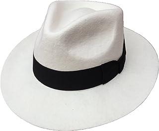 白い クラシックメンズウールフェルトゴッドファーザーギャングスタージェントルマン フェドラ・ハット 中折れ帽子 Michael Jackson Hat マイケルジャクソンハット