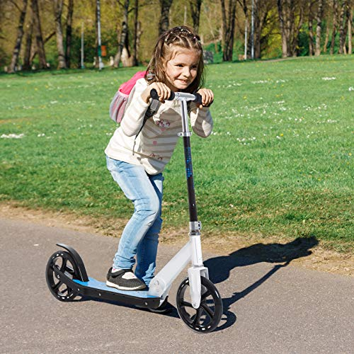 HOMCOM 2 Wheel Kids Stunt Kick Scooter Foldable Teens Commuter Aluminium Frame Adjustable Handles - White Blue