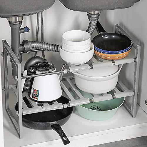 Qisiewell - Scaffale sottolavello, per Cucina, portaspezie, Regolabile in Altezza e Lunghezza, Portata 15 kg, Colore: Grigio