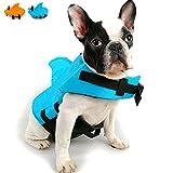 Snik-S Dog Life Jacket- Preserver with Adjustable Belt, Pet Swimming Shark Jacket for Short Nose Dog,Upgrade Version (Pug,Bulldog,Poodle,Bull Terrier) (S, Blue)