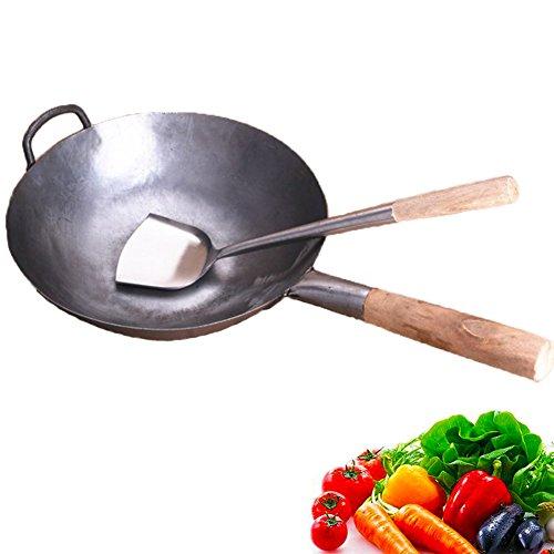 Ancoree Woks sauté Pan,Wok de Fer Chinois Pan Traditionnel à la Main a martelé Carbone sans Revêtement Acier Wok Ustensiles de Cuisson en Bois Helper, ⌀30.5cm Rond Woks à Fond