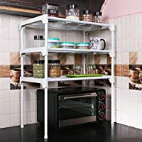 Product Dimensions: Length (57 cm), Width (30 cm), Height (65 cm) Primary Material: Metal and Plastic Color: Silver, Style: Modern Assembly Required: The product requires basic assembly Multipurpose kitchen rack- Microwave rack, oven rack, dish rack