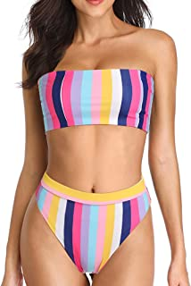 Dixperfect Women's Two Pieces Bikini Set Swimwear Bandeau Top High Cut Bottom