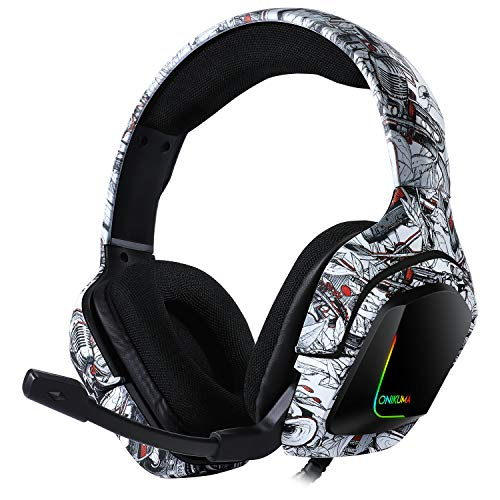 Headset PriceLimit K 20 Flower/Boombox Waterprint Gaming Headset with Surround Sound PS4 Headphones with Mic Works with Xbox One PC,RGB Lightweight Soft Earmuffs & Volume Control