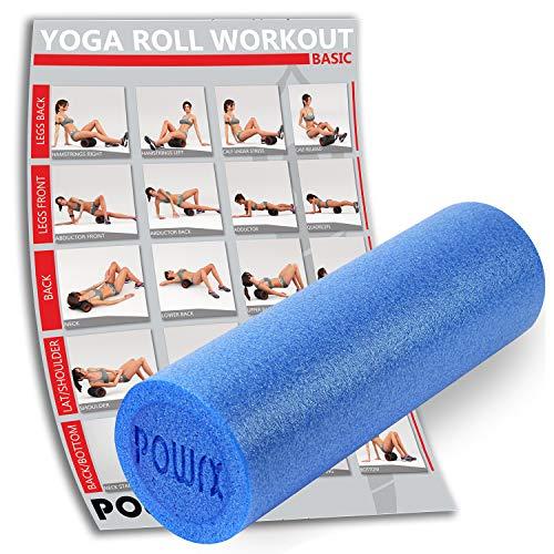 POWRX Rullo Pilates in Schiuma EPS per Massaggio Muscolare, Rilascio miofasciale & Riabilitazione | Ottimo per Pilates, Yoga e Ginnastica + PDF Workout (Celeste)