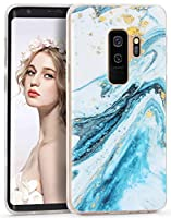 Imikoko Galaxy S9 Plus ケース [ SC-03K SCV39 ] 対応 大理石 耐衝撃 シリコン ソフト tpu かわいい レンズ保護 マーブル マット スリム 耐久性 保護ケース (ギャラクシー S9 Plus シーブルー)