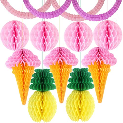 Party Paper Decorations 11Pcs/Lot Tissue Paper Lantern Ice Cream/Pineapple Honeycomb Ball Garland for Home Garden Wedding Party Decoration Baby Shower