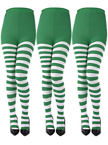 Sumind 3 Pairs Christmas Striped Tights Full Length Tights Thigh High Stocking for Christmas Halloween Costume Accessory (Green, White, Adult Size)