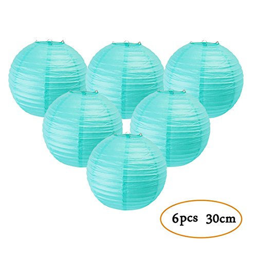 Set of 6 Paper Lanterns Round Lamp Shade Wedding Birthday Party Hanging Decoration Easy Joy (Aqua Blue, 12inch)