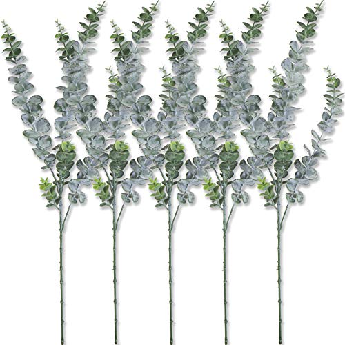 "Bird Fiy Artificial Plants 5 Branches Faux Eucalyptus Leaves Spray Artificial Greenery Stems Plants in Dusty Green for Wedding Jungle Theme Party 29.5"" Tall (29.5 inches)"