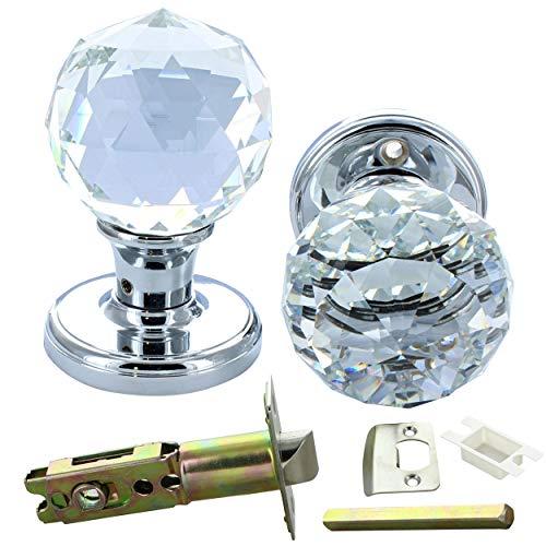 G Decor - Pomelli per la porta, coppia di cristallo a taglio sfaccettato, in vetro trasparente, rotondi da 60 mm e solidi, finitura cromata