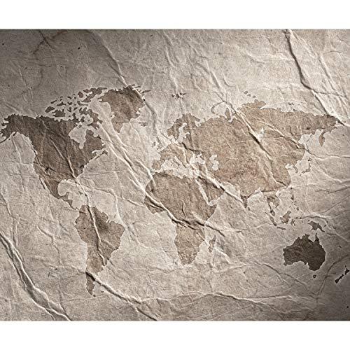 decomonkey Fototapete Weltkarte Landkarte 350x256 cm XXL Design Tapete Fototapeten Vlies Tapeten Vliestapete Wandtapete moderne Wand Schlafzimmer Wohnzimmer Vintage