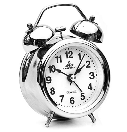 Sapphire India Retro Bedside Alarm Clock Non Ticking Battery Powered, Vintage Twin Bell Analogue Alarm Clocks with Night Light, Kids Bedroom Clock Classic Alarm Clock for Travel