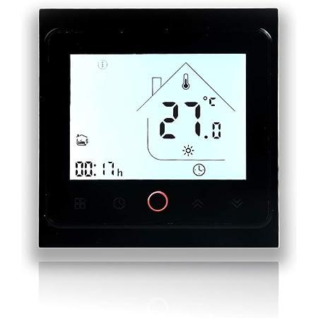 BecaSmart Series 002 Termostato Inteligente Wi-Fi Pantalla táctil Termostato de Sala Dos Tubos para Aire Acondicionado Fan Coil con conexión WiFi para Soporte Voz Inteligente (Dos Tubos, Negro)
