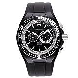 Technomarine Men's Quartz Watch with Black Dial Chronograph Display and Black Silicone Strap 110018