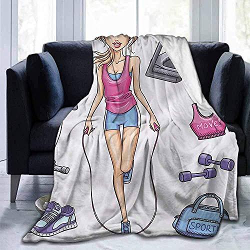 Leisure-Time Franela Suave Manta de Cama Mantas de Tiro Fitness, Chica de Dibujos Animados Work out, para sofá Silla Cama Oficina Viaje Camping