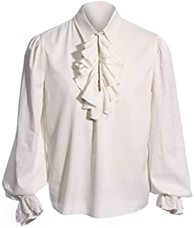 Fueri Men's Ruffled Gothic Shirts Medieval Lace Up Cosplay Steampunk Victorian Pirate Long Sleeve Halloween Costume Blouse...