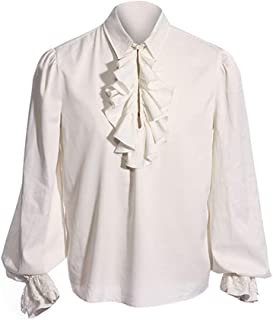 Mens Pirate Medieval Shirts Ruffle Renaissance Costume Tee Viking Halloween Mercenary Scottish Jacobite Ghillie Tops