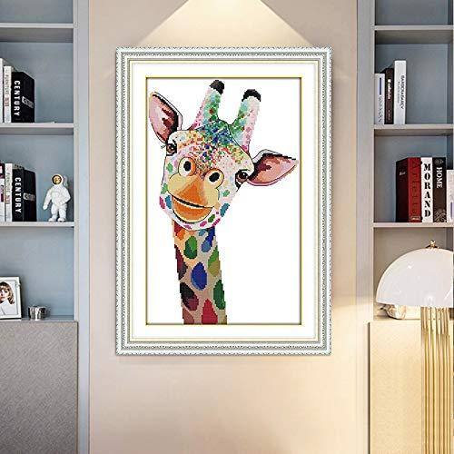 Kreuz-Stich-Regenbogen-Giraffe Wohnzimmer Vertikale dekorative Malerei DIY-Stickerei-Kit Handgemachte Kreuzstich (Size : 11ct 36 * 52cm)