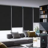 Graywind Motorized Roller Shade Compatible with Alexa Google 100% Blackout Rechargeable Smart Blinds Remote Control Battery Motor Cordless Window Shades, Customized Size (Matt Black)