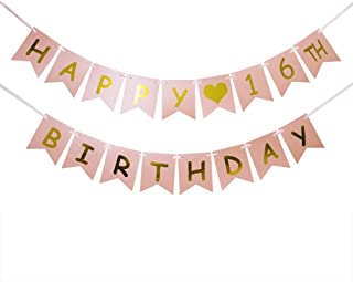 INNORU Happy 16th Birthday Banner - Pink and Gold 16th Birthday Decorations - Sweet 16 - Milestone Happy Birthday Decorations