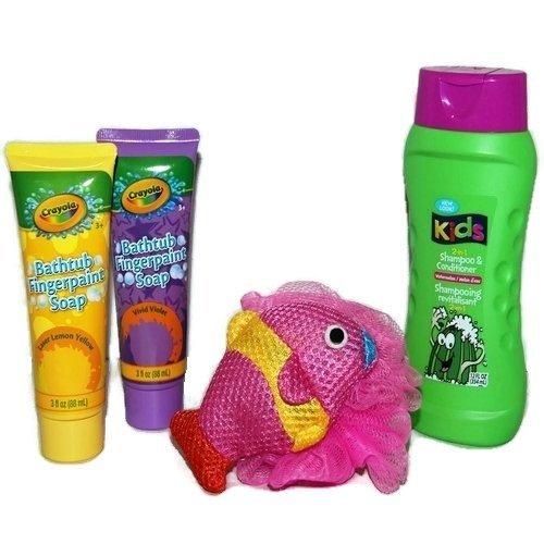 Kids Bath Set Tub Fingerpaint Soap Body Doodlers Scrubby Sponge 2-in-1 Shampoo Conditioner Kit Gift Bundle