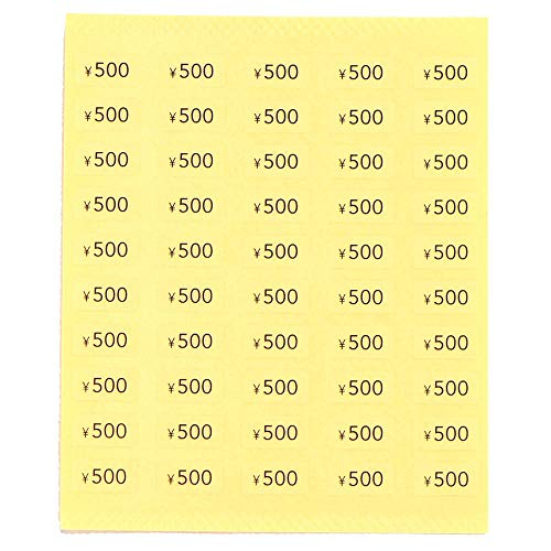 プライスシール 50円〜10000円 10×5mm アクセサリー台紙用 日本製 (透明地×黒文字) (文字:¥500, 1000枚)