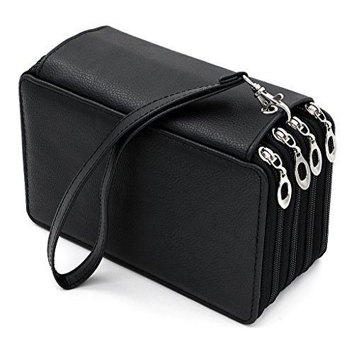 BTSKY PU Leather Colored Pencil Case with Compartments-72 Slots Handy Pencil Holder for Watercolor Pencils, Ordinary Pencils (Black)