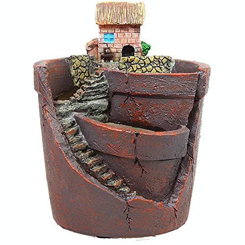 MICROSHE Résine idyllique Vintage Welcome Fun Garden Sign G Jardinière succulente Pots Cactus Plante Pot À Fleur Pays Paysage Style Maison & Champs Pas De Plante (Couleur : House, Taille : 12 * 9cm)