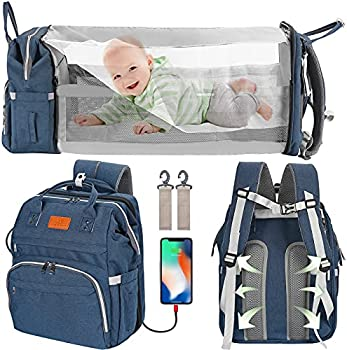 Wbdrim Diaper Bag Backpack with Changing Station Foldable Baby Bed