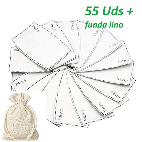 TAMACE- 55 Filtros carbon activo pm 2.5 para mascarillas + 1 funda Lino, 55 filtros para mascarillas de tela, funda para mascarillas, Filtros carbon activo, filtros reutilizables.