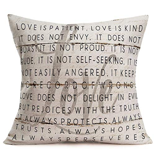 Hopyeer Quote Saying Decor Throw Pillow Covers Rustic Wooden Board with Motivational Words Love Cotton Linen Decorative Pillow Covers for Home Sofa Bed Room Pillowcase 18'x18' (Words Love)