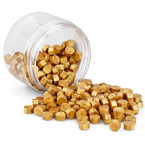 Sello Lacre, Gobesty 200 Piezas Cera de Sellado Octagonal Perlas de Cera de Sellado Sellos de Cera Sello Cera para Sellar y Decorar Cartas e Invitaciones (Dorado)
